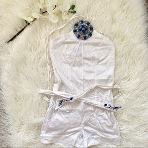 Xoxo White Halter Romper with Blue Accents
